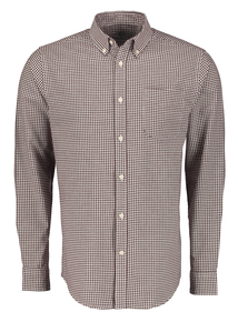 Burgundy Gingham Checked Pure Cotton Classic Button-Up Shirt