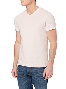 Pastel Pink Basic V-neck T-shirt