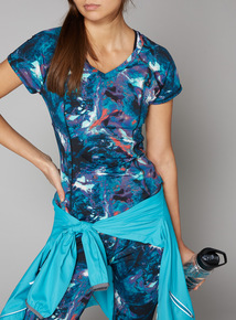 Multicoloured Marble Print Active Top