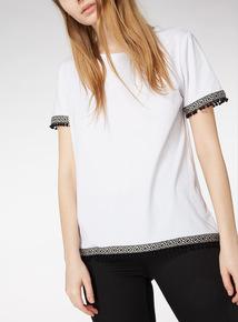 Online Exclusive White Pom Pom Trim T-Shirt