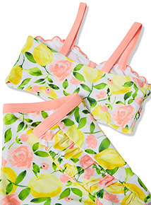 Yellow Lemon Print Bikini Set (5-14 years)