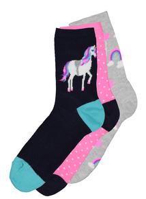 Multicoloured Unicorn Socks 3 Pack