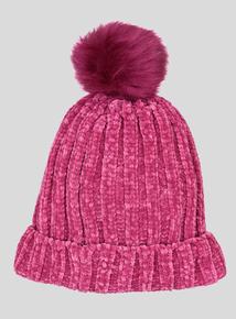 Pink Chenille Pom-Pom Beanie Hat (3-13 years)