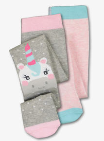Multicoloured Unicorn Tights 2 Pack