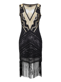 IZABEL Black Embellished Sequined Dress