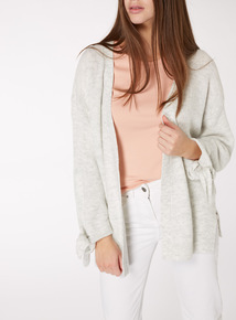 Grey Knot Sleeve Slouch Cardigan