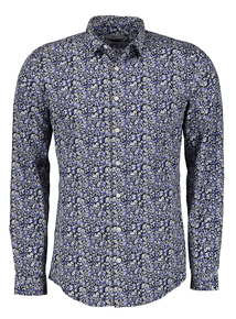 Blue Ditsy Floral Print Slim Fit Long Sleeve Shirt
