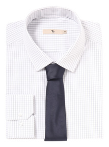 Navy Grid Shirt With Tie