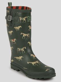 Green Equestrian Horse Print Wellies