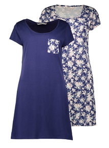 Navy Blue Floral Night Shirts 2 Pack