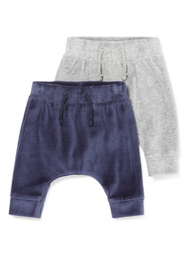 2 Pack Navy and Grey Velour Joggers (0-12 months)