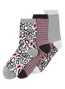 Three Pack Animal Neon Socks