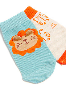 4 Pack Multicoloured Lion Print Socks (1-24 months)