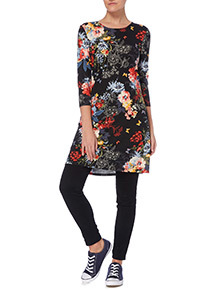Multicoloured Floral and Butterfly Pattern Tunic