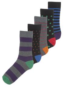 Multicoloured Stay Fresh Socks 5 Pack