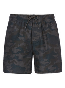 Khaki Camo Print Swim Shorts