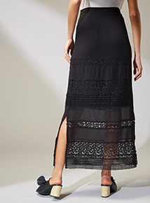 Premium Black Lace Maxi Skirt