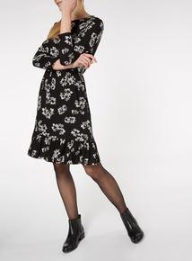 Monochrome Floral Print Ruffle Hem Dress