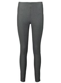 Grey & White Striped Leggings