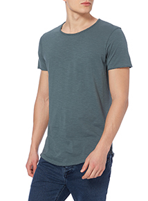 Blue Raw Edge Scoop Tee