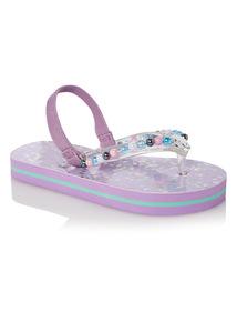 Girls Pink Mermaid Flip Flops