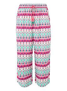 Geometric Print Cropped Pyjama Bottoms