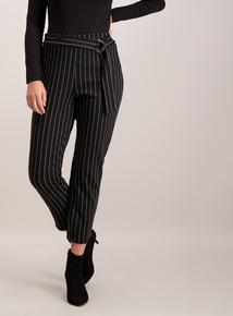 Black Stripe Ring Detail Trousers