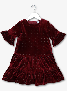 Red Velvet Party Dress (9 Months - 6 Years)