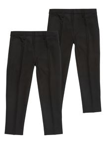 Boys Black Woven Longer Leg Trousers 2 Pack (3-12 years)