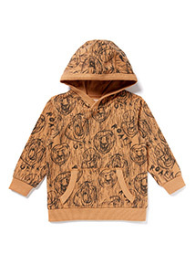 Brown Lion Print Hooded Sweat (9 months-6 years)