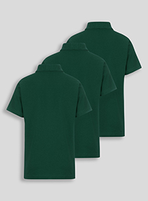 Green Cotton Rich Polo Shirts 3 Pack (2-12 Years)