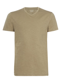 Khaki Basic V-neck T-shirt