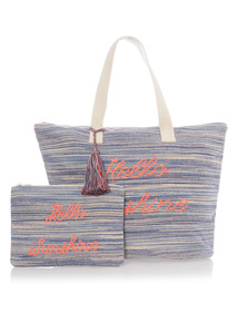 Blue Canvas Bag With Inner Bag