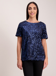 Midnight Blue Sequin Top