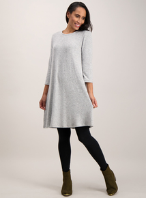 Grey Knit Look Dress