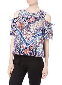 Multicoloured Cold Shoulder Top