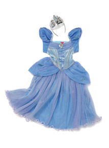 Kids Blue Disney Cinderella Dress With Tiara