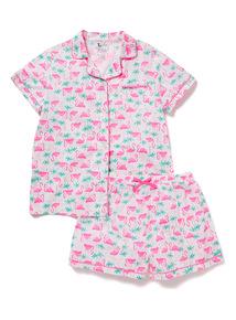 Multicoloured Flamingo Print Pyjamas (3-14 years)