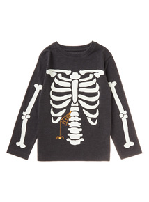 Black Halloween Glow in the Dark Skeleton Tee (9 months-6 years)