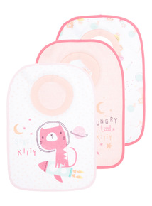 Girls Pink Space Kitty Popover Bibs 3 Pack
