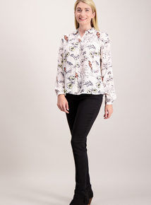Cream Butterfly Print Blouse