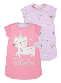 Kittycorn Nightie 2 Pack (3 - 14 years)