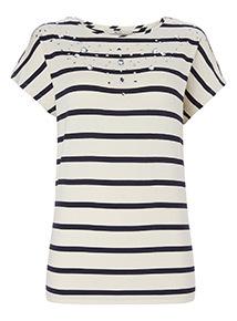 Striped Embellished T-Shirt