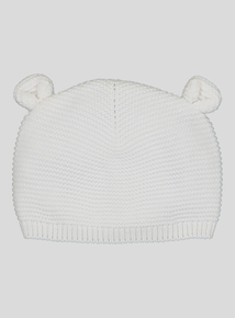 Unisex Knitted Cream Hat (0-24 months)