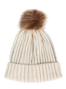 Beige Beanie Hat With Pom-Pom