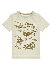Boys Khaki Helicopter Oil Wash Tee (9 months-6 years)