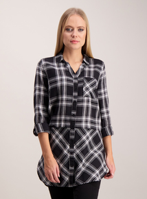 Monochrome Longline Check Shirt