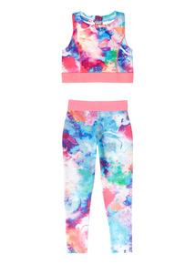 Multicoloured Crop Top and Legging Set