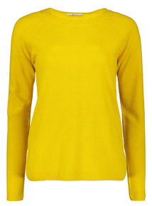 Mustard Yellow Round Neck Cable Detail Jumper