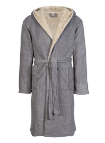 Grey Borg Lined Hooded Dressing Gown